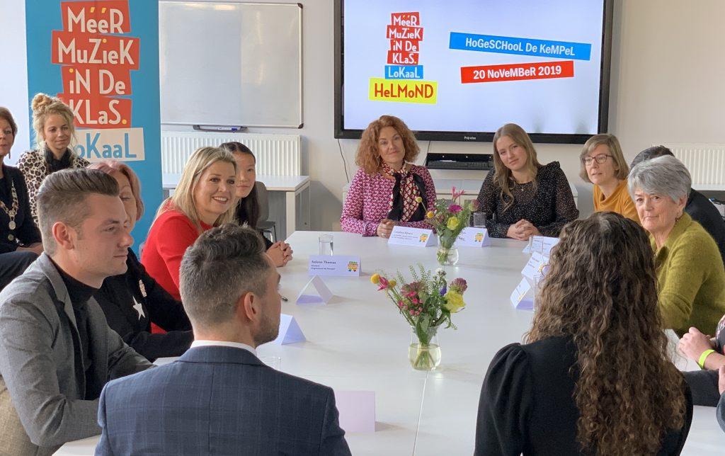 """Máxima over Méér Muziek in de Klas: """"De helft van alle scholen en álle pabo's bereikt!"""