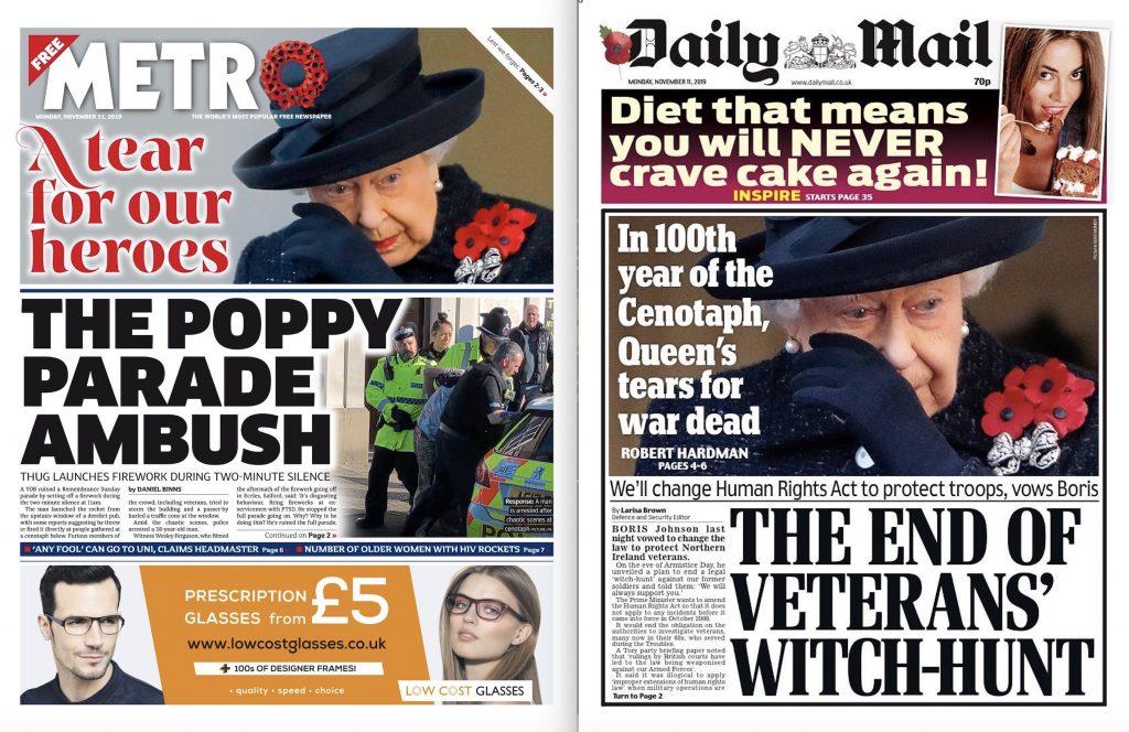 Britse kranten staan stil bij Elizabeths traan om oorlog